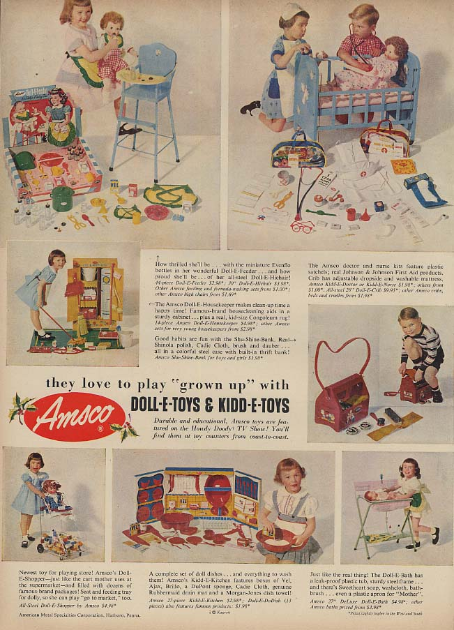 Amsco Doll-E-Toys & Kidd-E-Toys ad 1953 little girl toys to play grown-up L