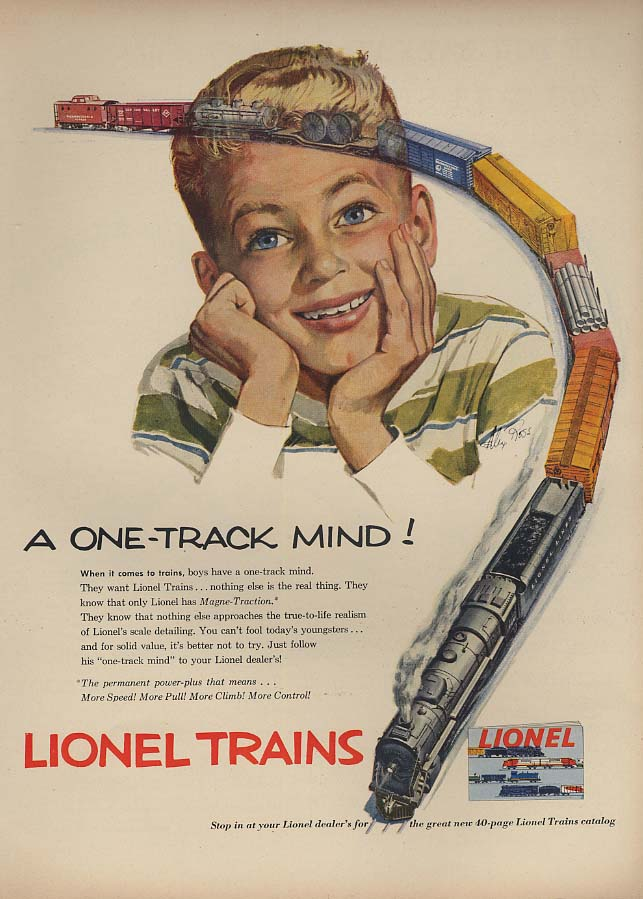 A One-Track Mind! Lionel Electric Trains ad 1953 L