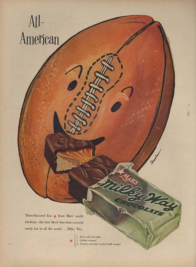 All-American - Milky Way Candy Bar ad 1953 football by Bemelmans L