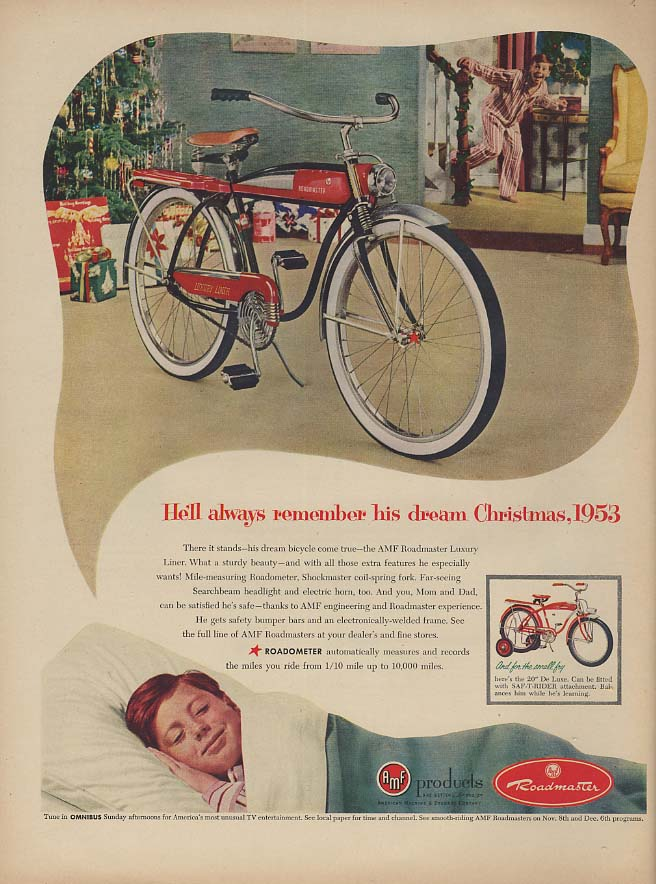 He'll always remember his dream Christmas - Roadmaster Bicycle ad 1953 L