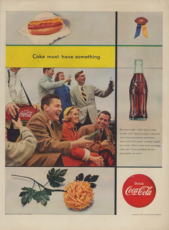 Coca-Cola must have something ad 1953 young folks at football game L