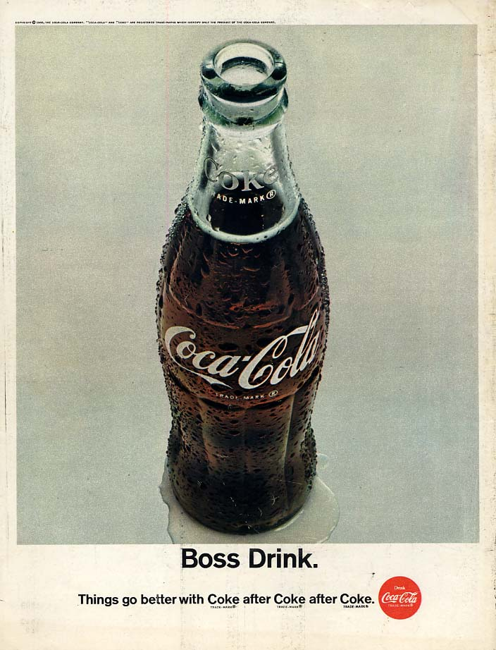 Boss Drink - Things go better with Coca Cola ad 1966 BL