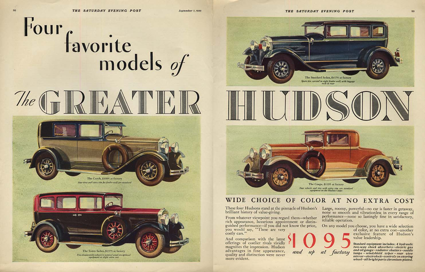 4 Favorite models Greater Hudson Coach Town Sedan Coupe ad 1930 SEP