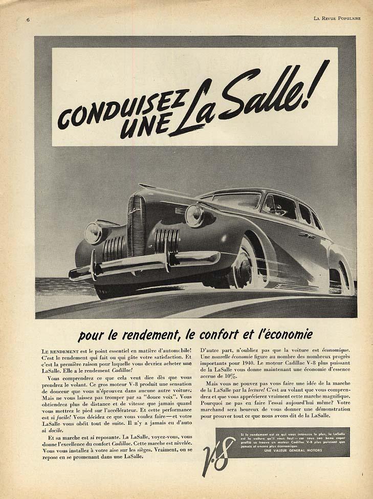 Conduisez une La Salle! ad 1940 French Canadian magazine