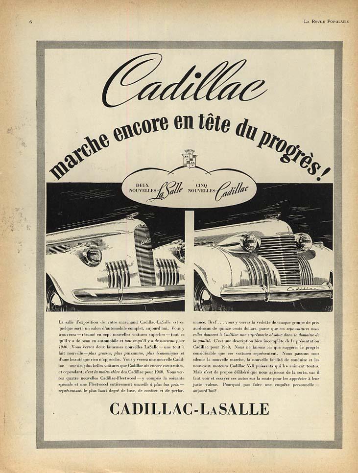 Cadillac marche encore en tete du progress- Cadillac La Salle ad 1939 French