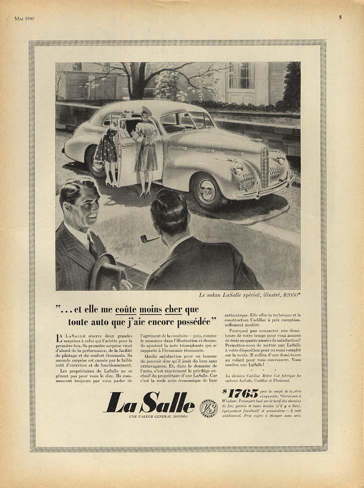 Et elle me coute moins cher La Salle Sedan ad 1940 French Canada