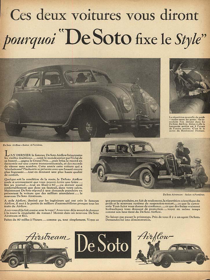 Ces deux voitures vous diront pourquoi De Soto Airflow & Airstream ad 1935