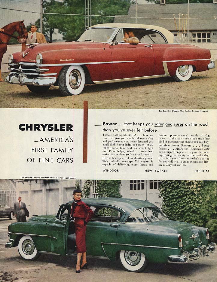 Image for Power that keeps you safer and surer Chrysler New Yorker & Windsor ad 1953 SEP