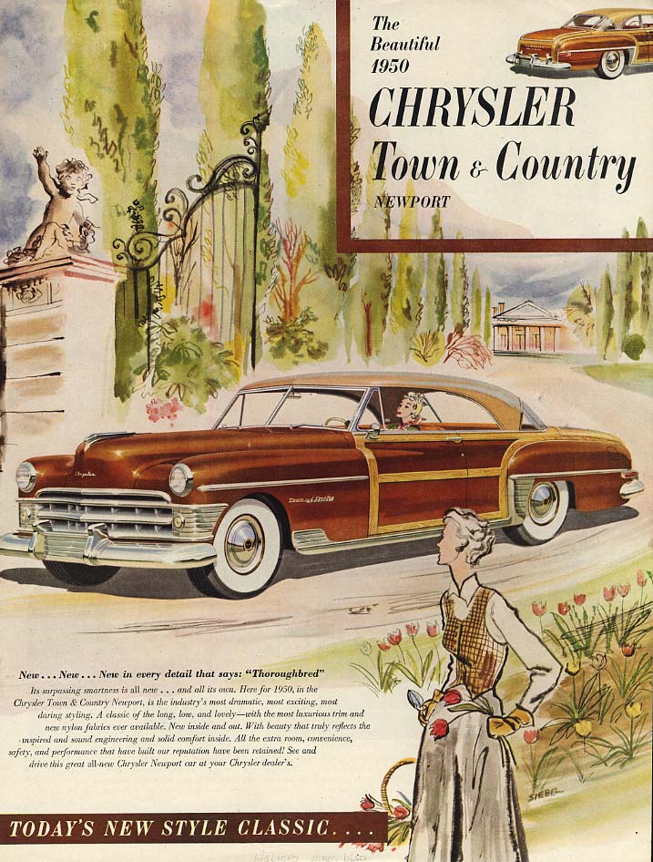 Image for The Beautiful 1950 Chrysler Town & Country Newport hardtop ad 1950 H