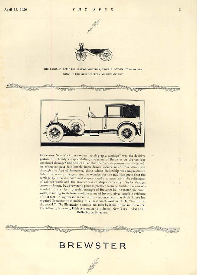 Image for In far-off New York days - Rolls-Royce Brewster Body ad 1926