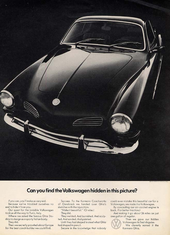 Can you find the Volkswagen hidden in this picture Karmann Ghia ad 1970 Esq
