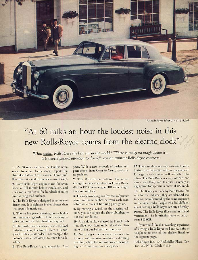 At 60 miles an hour the loudest noise comes from the clock Rolls-Royce ad 1959 F
