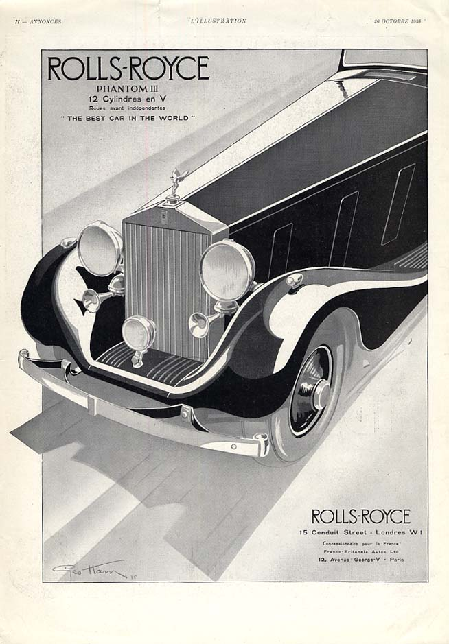 Best Car in the World - Rolls-Royce Phantom III ad in French 1935