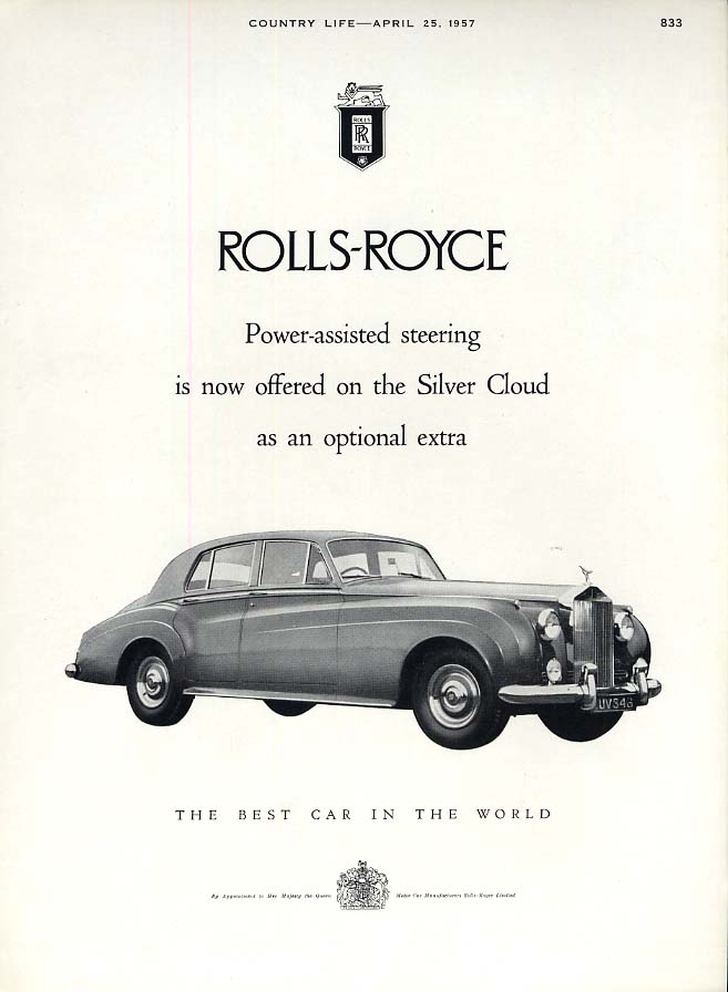 Image for Power-assisted steering now offered on Rolls-Royce Silver Cloud ad 1957
