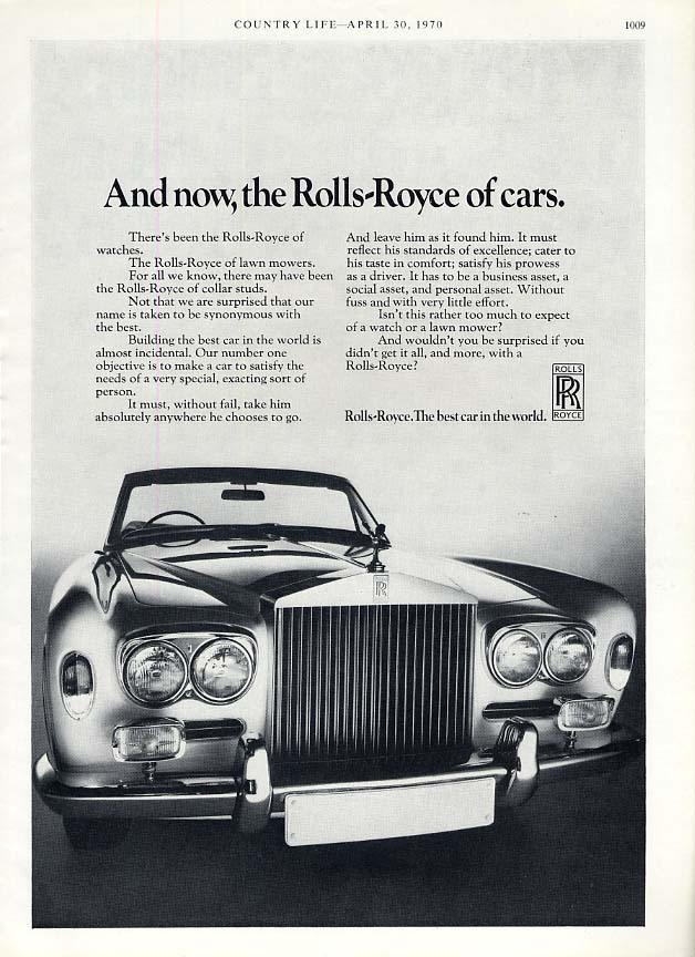 Image for And now, the Rolls-Royce of cars ad 1970 Rolls-Royce convertible