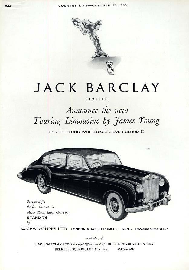 Image for The new James Young Touring Limousine Rolls-Royce Silver Cloud II ad 1961