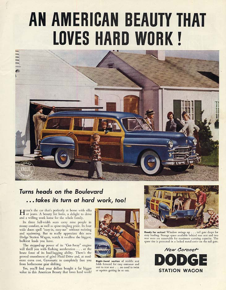 An American beauty that loves hard work! Dodge Coronet Station Wagon ad 1949 H