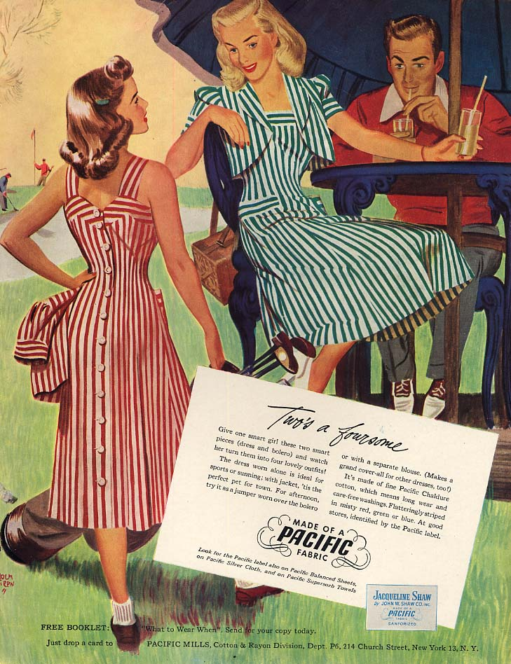 Two's a foursome Pacific Fabric ad 1948 R John Holmgren pin-up art