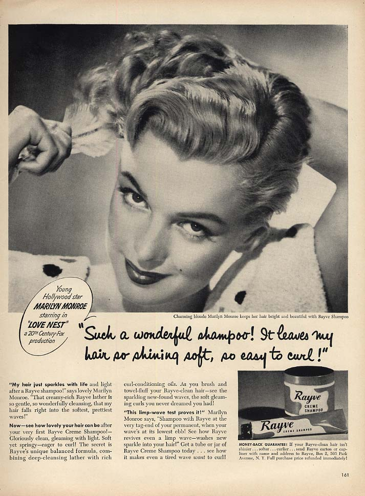 Marilyn Monroe in Love Nest for Rayve Crème Shampoo ad 1951 L