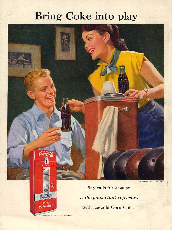 Bring Coca-Cola into play ad 1951 L at the bowling alley