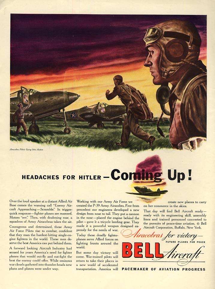 Headaches for Hitler Coming Up! Bell P-39 Airacobra ad 1942 L