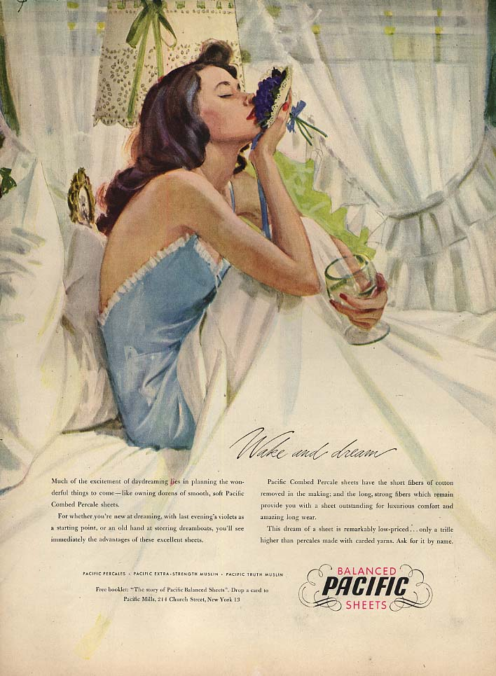 Wake and dream Pacific Sheets ad 1947 John Gannam pin-up art L