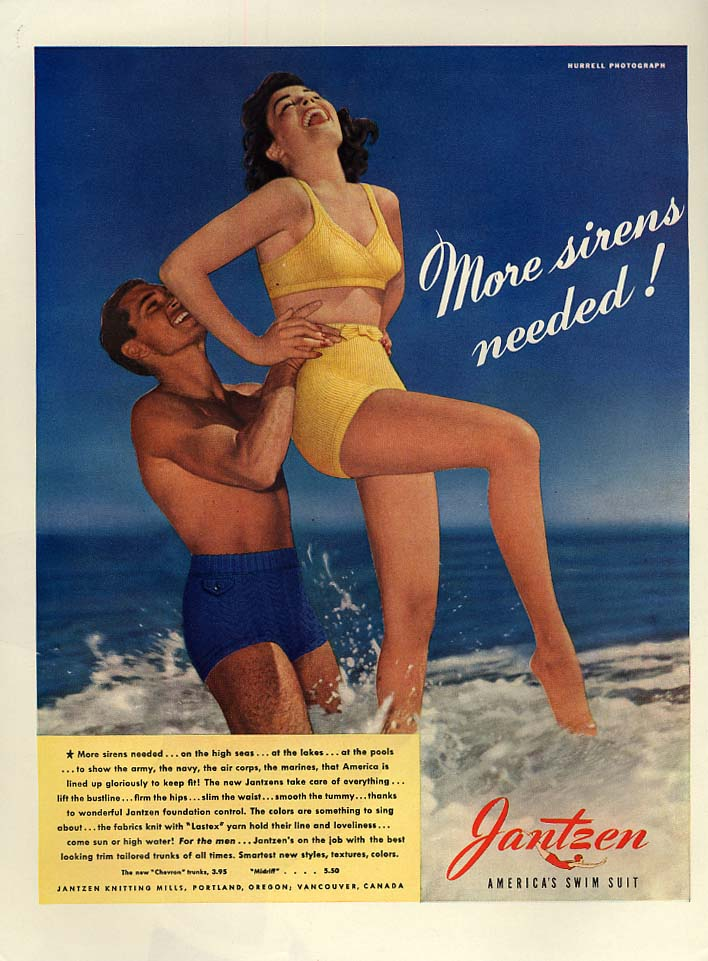 More sirens needed! Jantzen swimsuits ad 1942 Hurrell photo L
