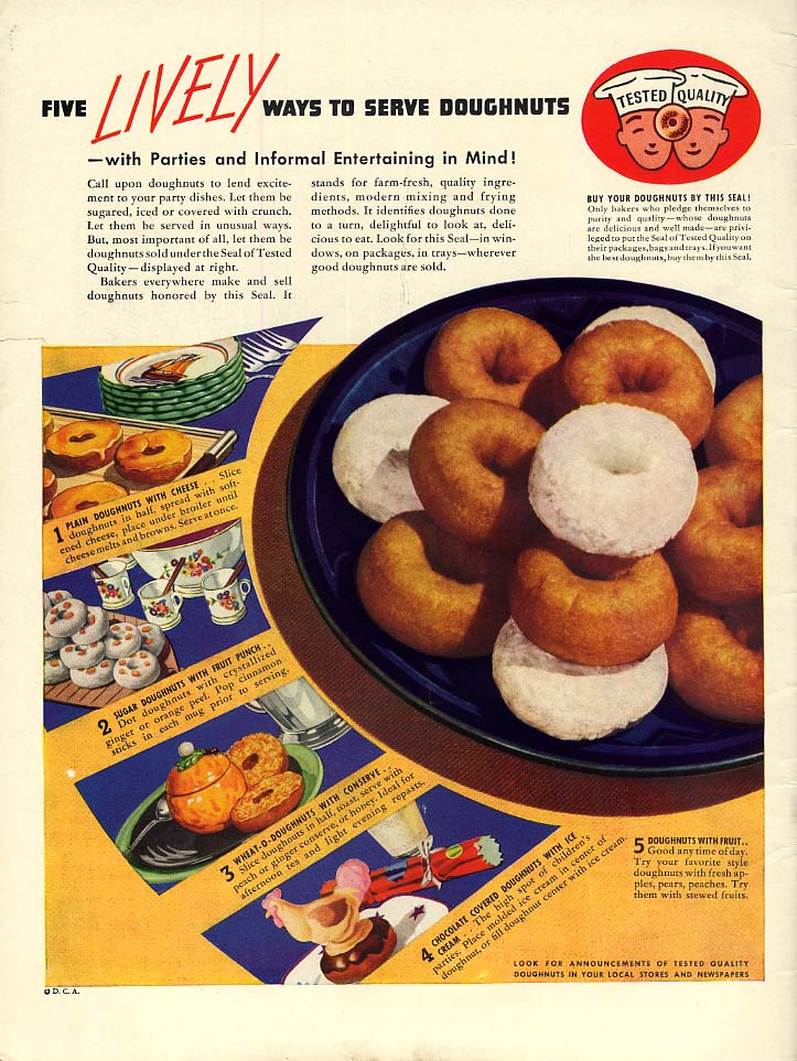 Five lively ways to serve doughnuts ad 1938 Seal of Tested Quality L