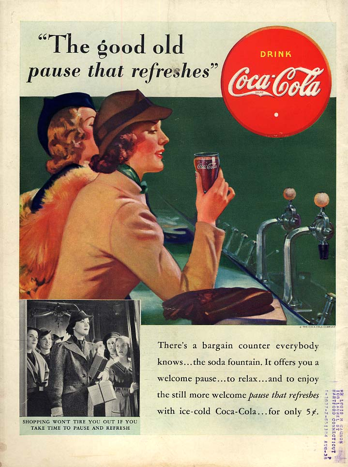 The good old pause that refreshes Coca-Cola ad 1938 two women at soda fountain L