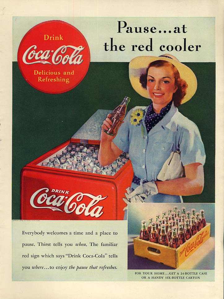 Pause - at the red cooler Coca-Cola ad 1938 girl in straw hat by Sundblom L