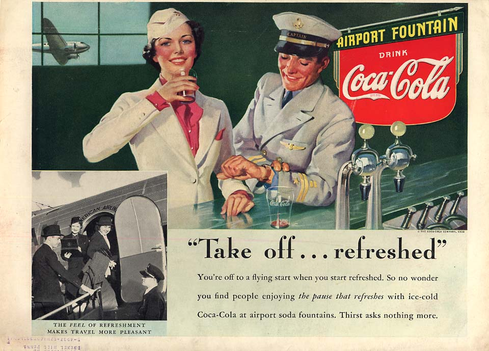 Take off - refreshed Coca-Cola ad 1938 stewardess & pilot soda fountain L