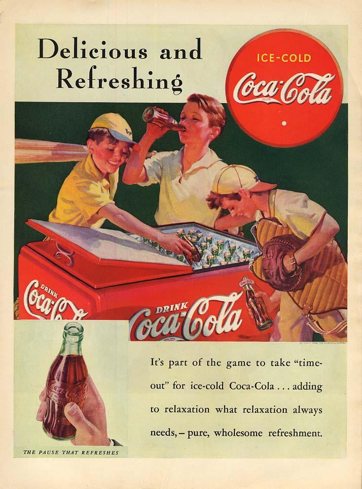 Delicious and refreshing Coca-Cola ad 1938 baseball boys at cooler L