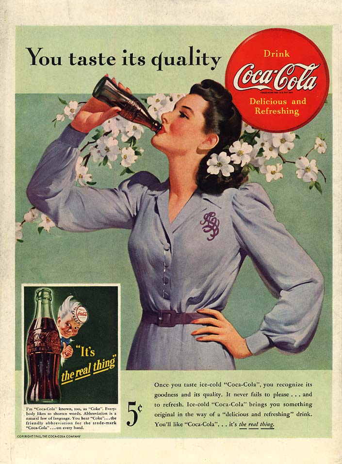You taste its quality Coca-Cola ad 1942 woman flowered hair drinks bottle L