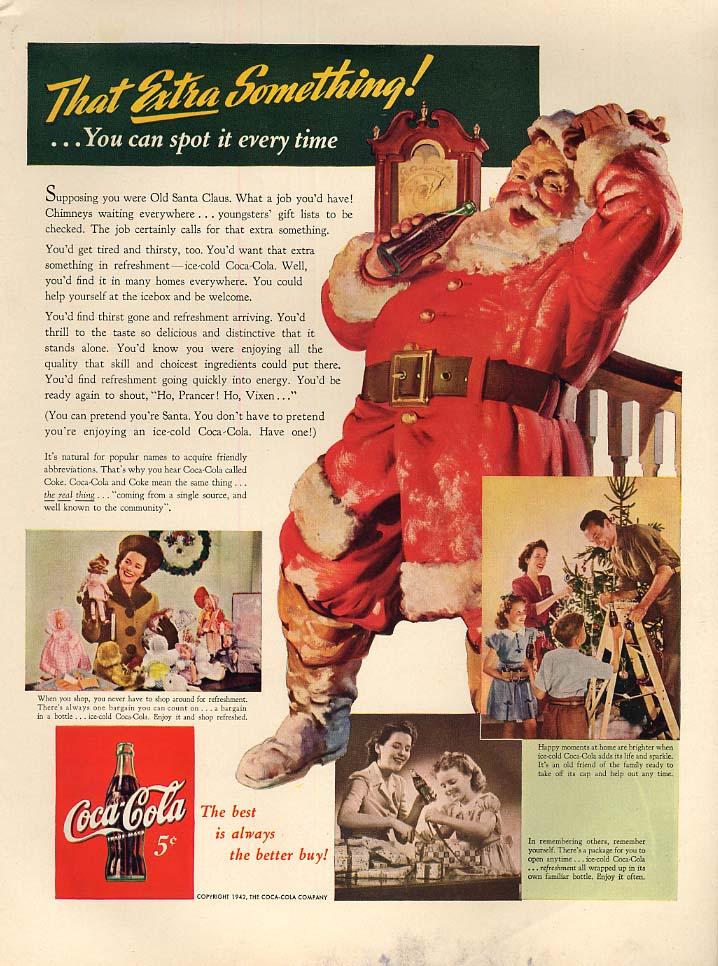 That EXTRA Something! Santa Claus for Coca-Cola ad 1942 sundblom L