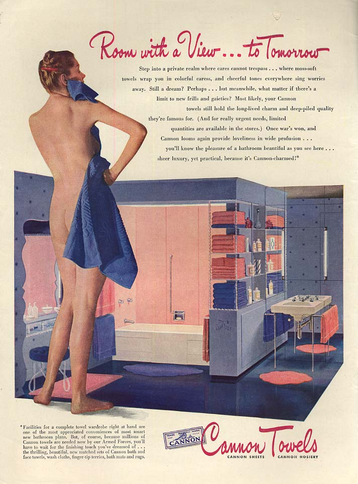 Room with a View to Tomorrow Cannon Towels nude ad 1944 L