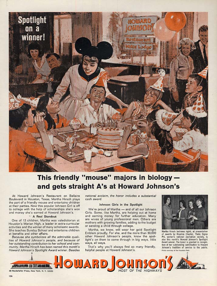 A friendly mouse Martha Hirsch Houston Howard Johnson waitress ad 1964 L