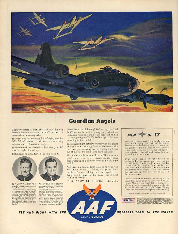 Guardian Angels P-38 Lightnings cover Flying Fortress US AAF ad 1944 L