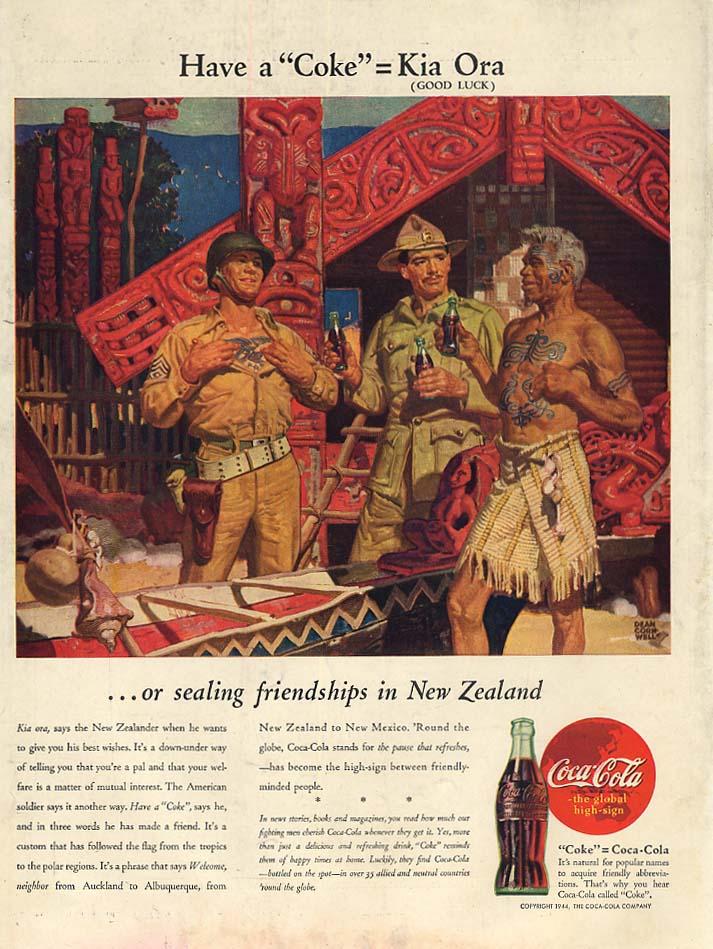 Kia Ora = Have a Coca-Cola in New Zealand ad 1944 L