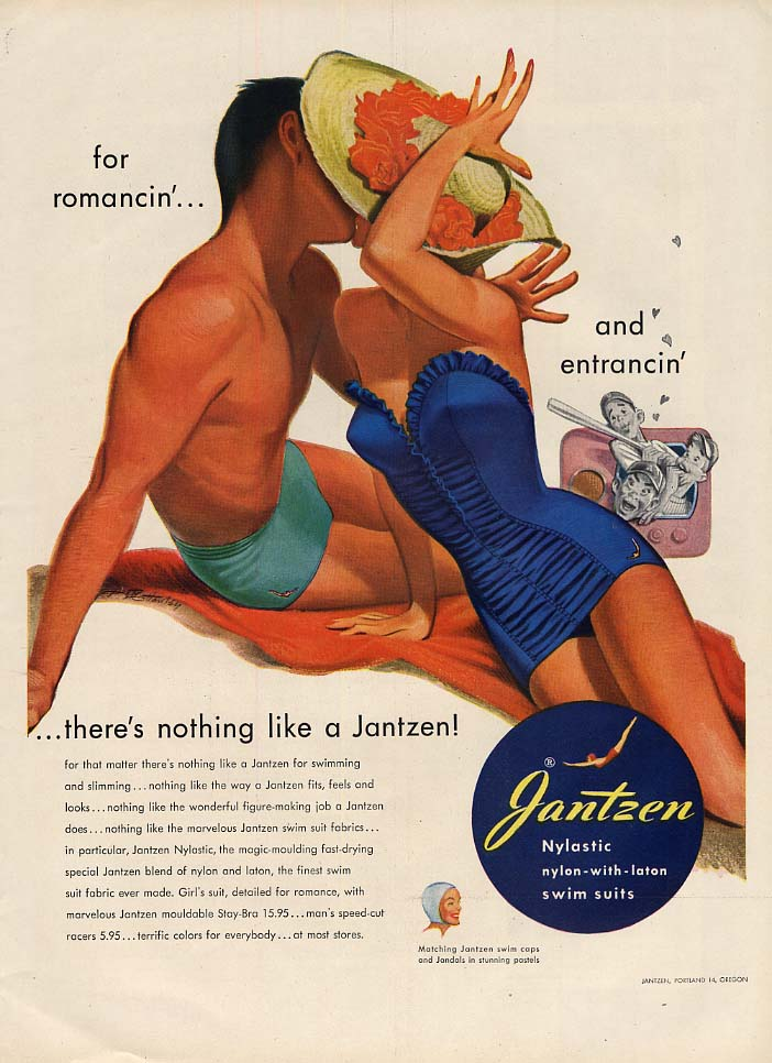 For romancin' and entrancin' Jantzen swimsuits ad 1951 Pete Hawley pin-up L