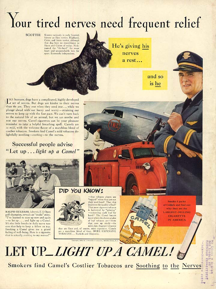 Tired nerces need frequent relief Camel Cigarettes ad 1938 TWA pilot / Guldahl L