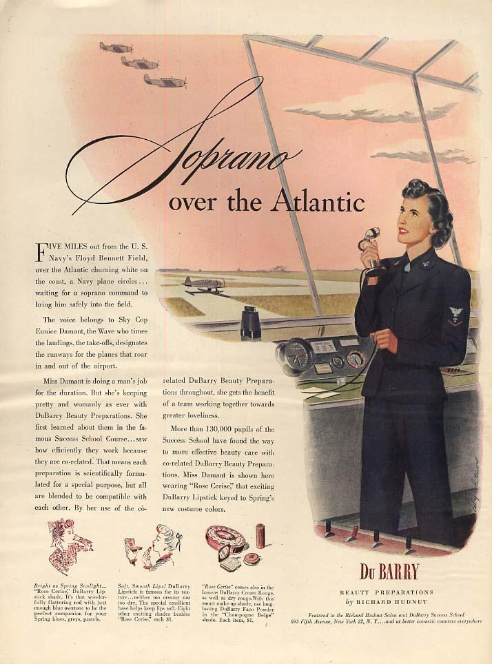 US Navy Sky Cop Eunice Damant Floyd Bennett Field for Du Barry ad 1944 L