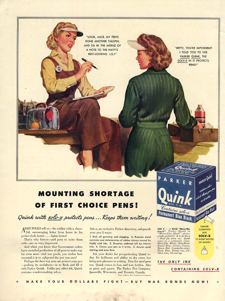 Image for Mounting shortage of 1st choice pens Quink Ink ad 1944 women war workers L