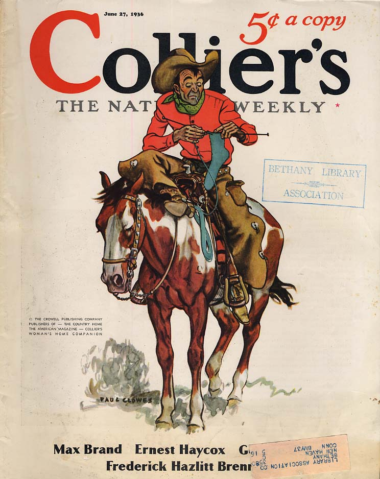 COLLIER'S COVER 6/17 1936 Cowboy on horseback knitting socks by Paul Clowes