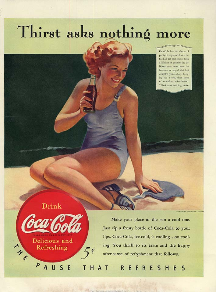 Thirst asks nothing more Coca-Cola ad 1940 redhead bathing beauty by Sundblom L