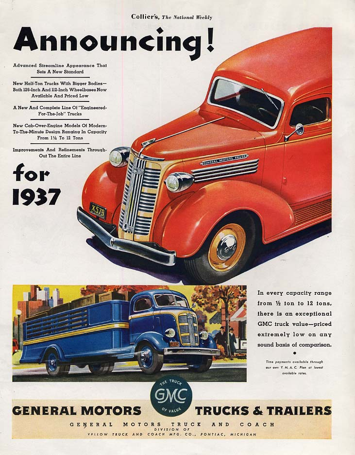 Announcing! General Motors GMC Trucks ad 1937 Col