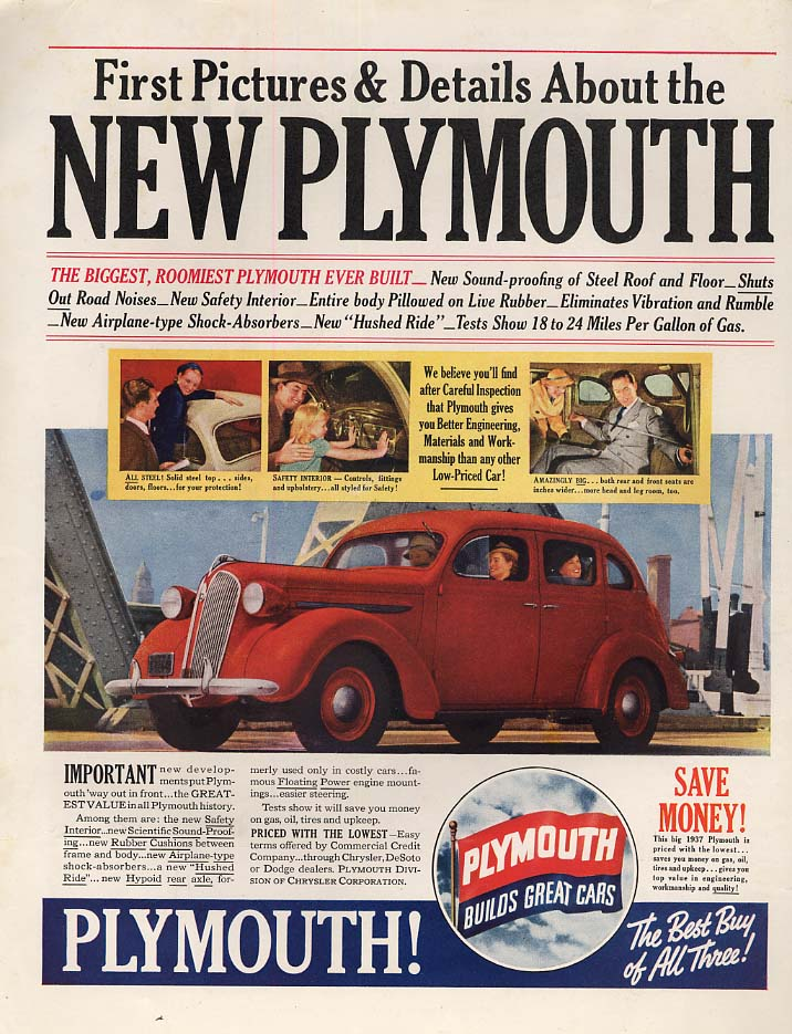 First pictures & details about the new Plymouth ad 1937 Col