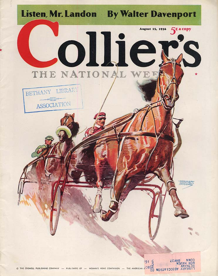 COLLIER'S MAGAZINE COVER 8/15 1936 harness racing by Herbert Martin Stoops