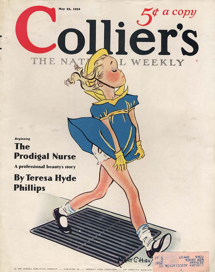 COLLIER'S MAGAZINE COVER 1936 girl holds skirt down over air grate by Highsmith