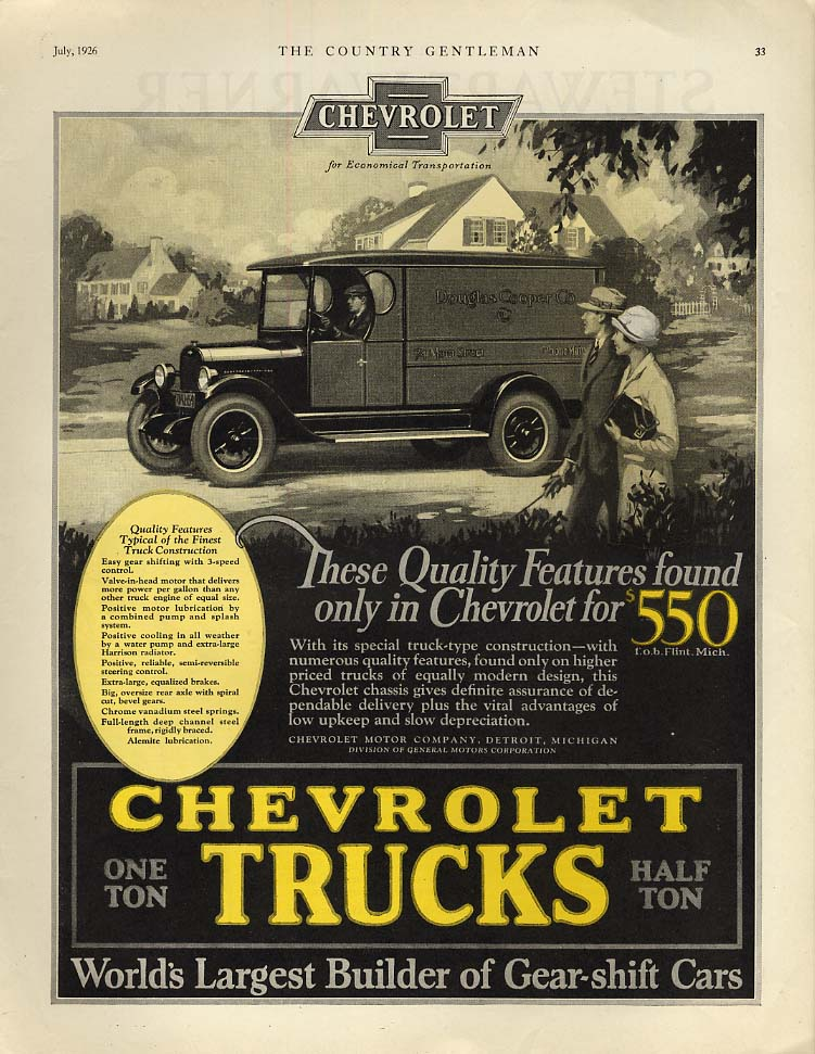 Quality features found only in Chevrolet Trucks ad 1926 delivery van CG
