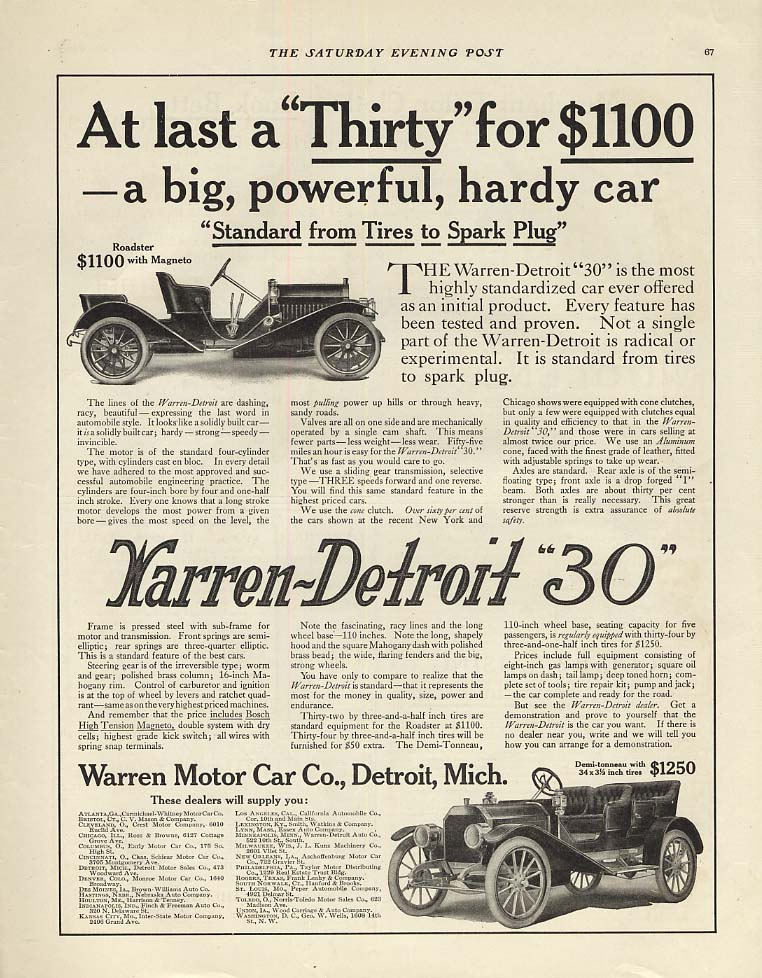 At last a Thirty for $1100 - Warren-Detroit 30 Roadster & Touring ad 1910 P